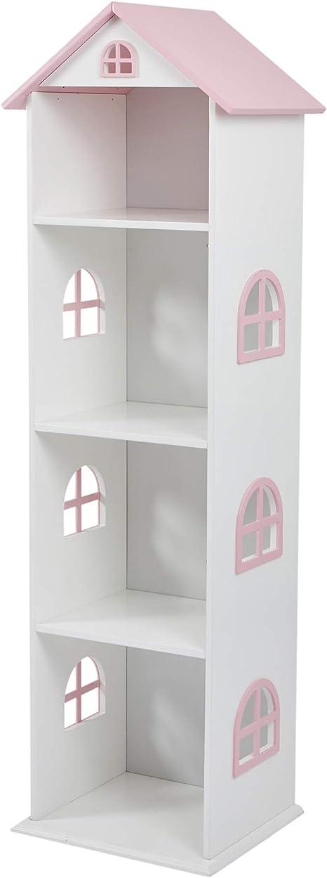 Liberty House Toys Estantería Alta de casa de muñecas Blanca con Techo Rosa, 140cm H x 40cm W x 35cm D