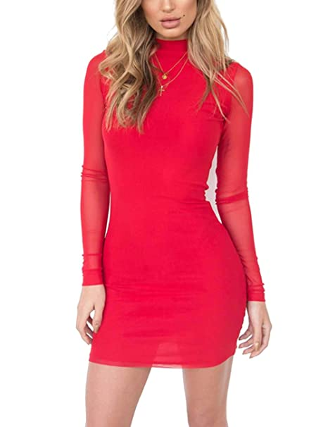 ae6ccb9f96b6 Yonala Women's Mock Neck Mini Bodycon Dress Mesh Long Sleeve Club Party  Dresses at Amazon Women's Clothing store: