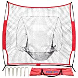 Baseball and Softball Practice Net 7x7 PACEARTH Baseball Portable Training Net with Extra 6 Fastening Nails Bow Frame Strike Zone Target for Hitting Fielding Pitching Batting Catching