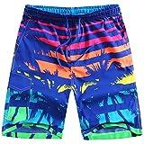 ALiberSoul Men's Coconut Tree Print Boardshorts Tropical Design Swimming Trunks (US L)