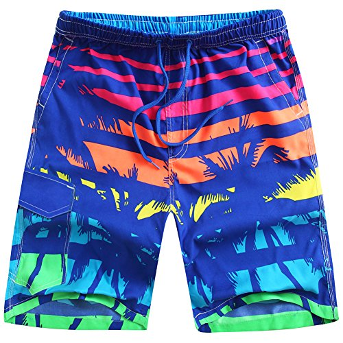 ALiberSoul Men's Coconut Tree Print Boardshorts Tropical Design Swimming Trunks (US L)