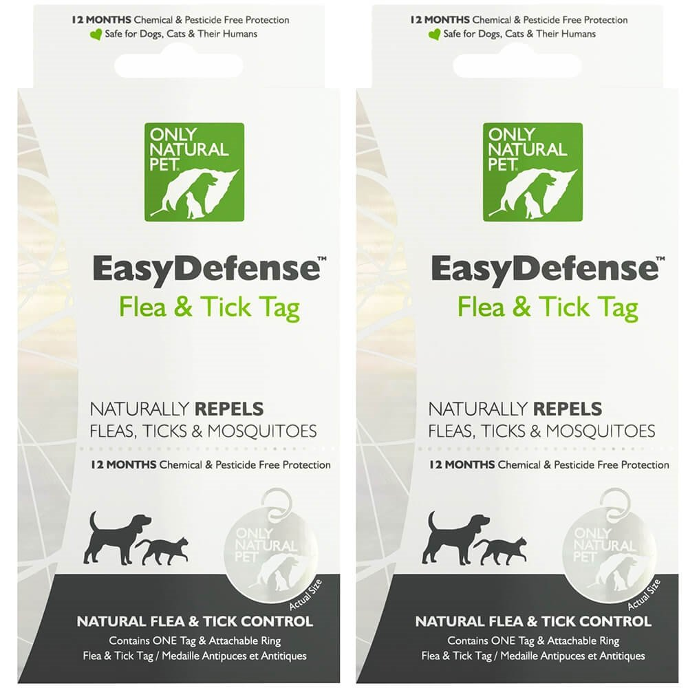 Only Natural Pet Easydefense Flea And Tick Control Collar Tag For Dogs And Cats - Natural Active Ingredients For Prevention, Control & Enhanced Defense - 2 Pack
