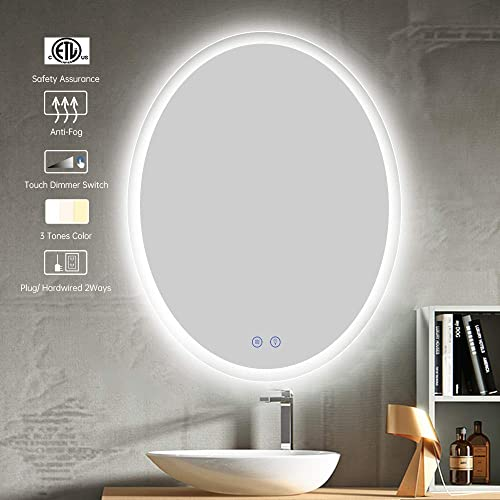 CITYMODA Led Lighted Mirror, Large Wall Mount Vanity Mirror with Dimmer Switch, 24×30 inch Frameless Oval Backlit Mirror for Bathroom, Horizontal Vertical, Anti-Fog, 3 Color Tones