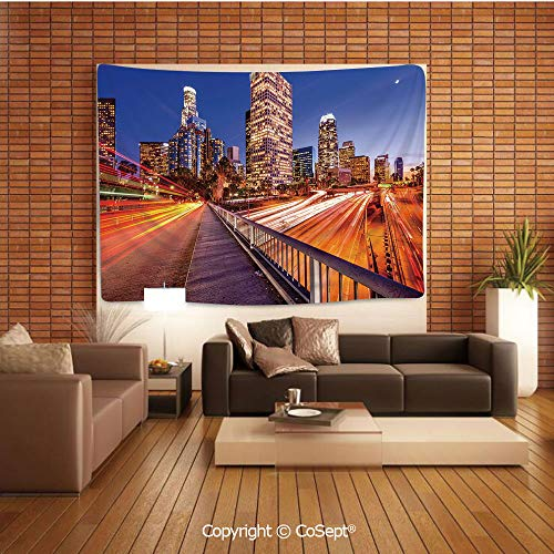 PUTIEN Natural Luxury Tapestry,USA Downtown City Skyline Over The Highway Los Angeles California Travel Destination,Tapestry Art Print Tapestry for RoomMulticolor ()