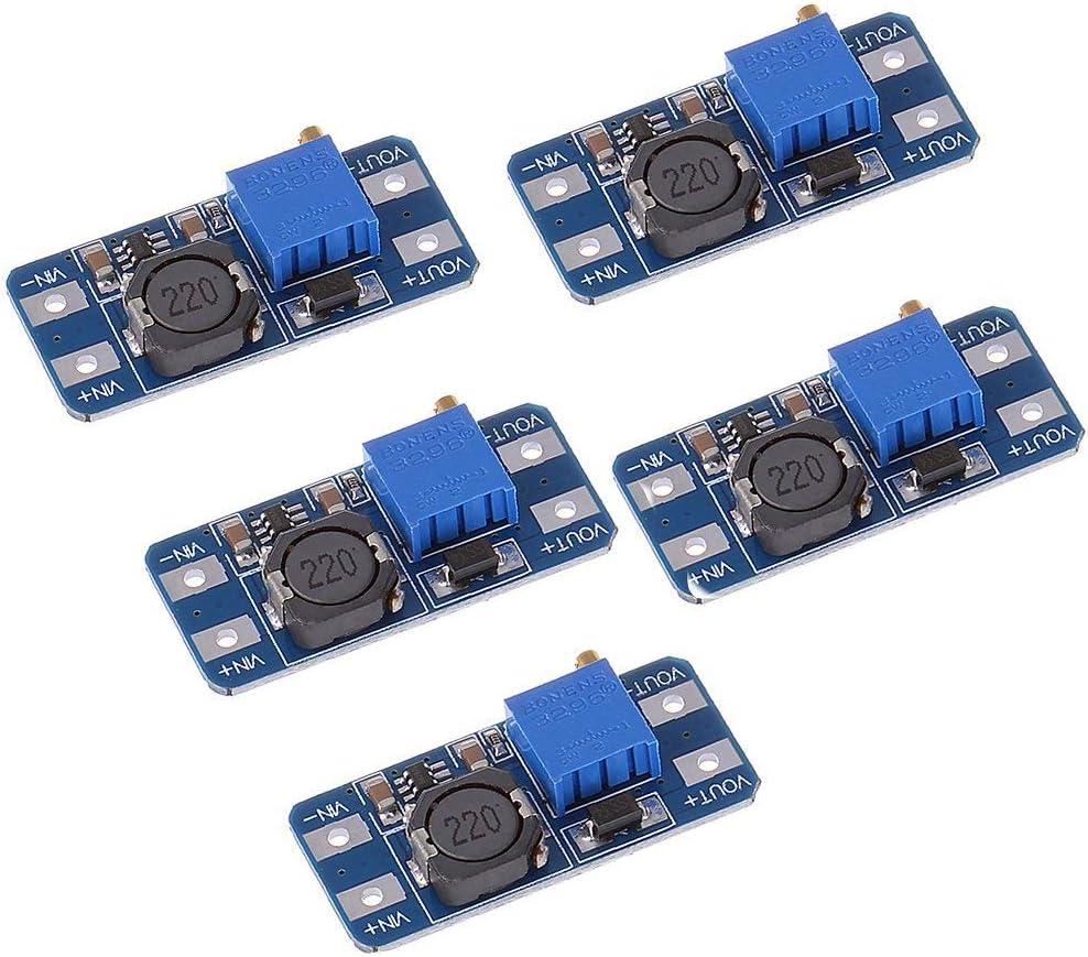 ARCELI 5PCS MT3608 Step-Up Ajustable DC-DC Switching Boost Convertidor Módulo de Fuente de alimentación 2-24V a 5V-28V 2A