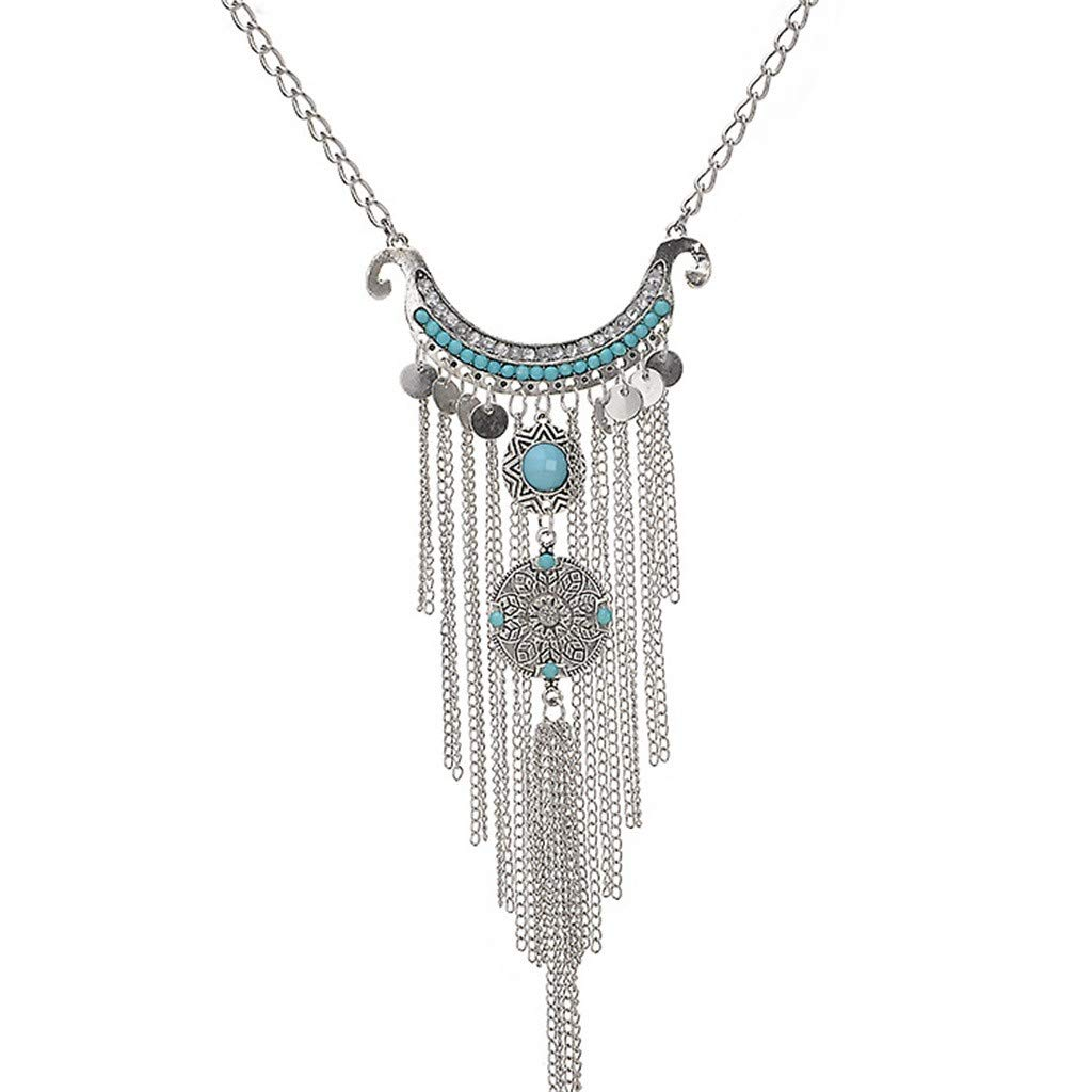Toponly Jewelry Multi-Layer Chain Handmade Beaded Bohemian Feather Necklace for Women Girls Summer