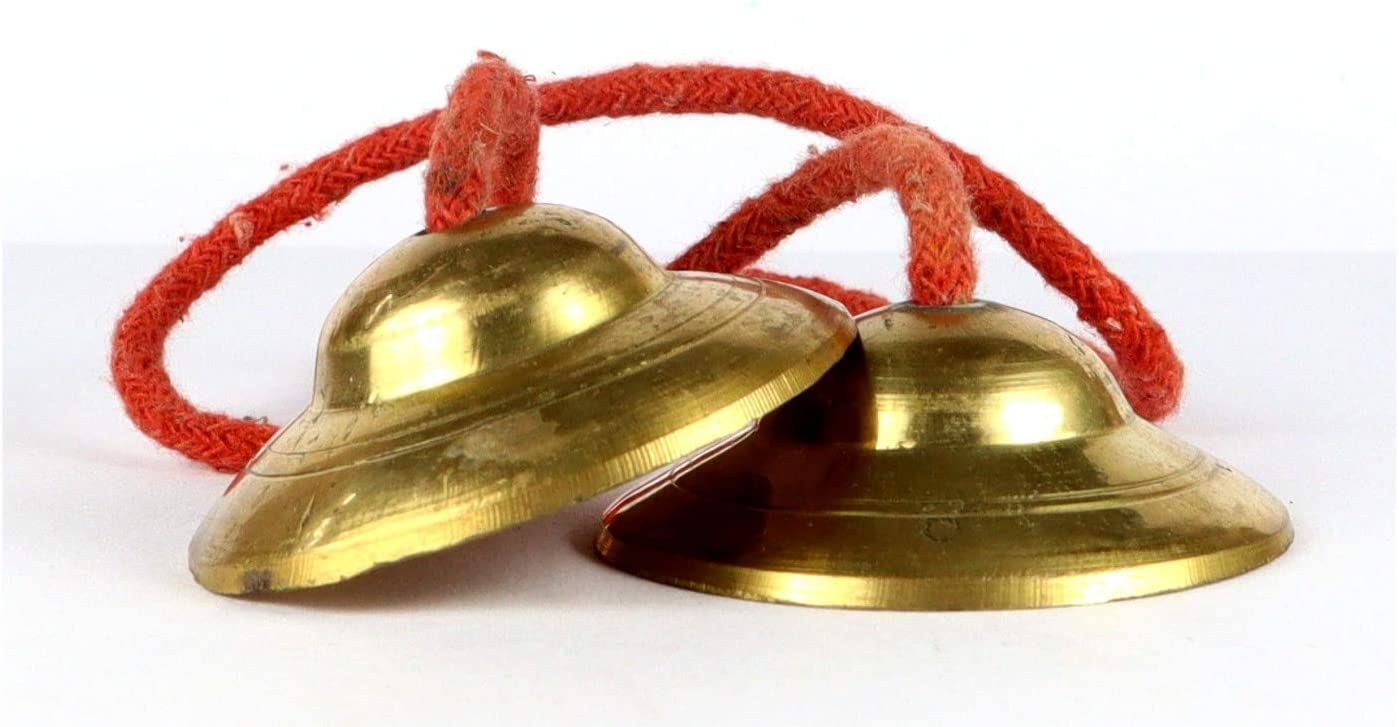Scale-02 ASHIRWAD Pure Brass Manjeera Hand Cymbals Jhaanj Arati Sankirtan Song Puja Vraja Vrindavan Krishna Devotion Worship