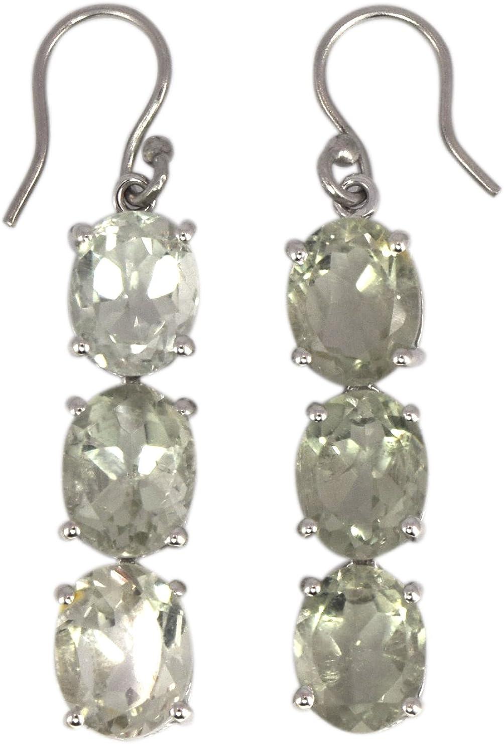 Shine Jewel Pendientes colgantes de amatista verde de tres piedras de plata de ley 925 con corte ovalado para mujer Oval Amatista