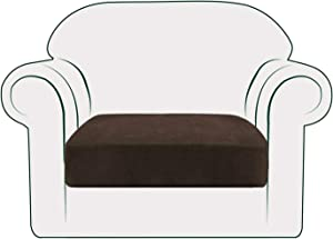 NC HOME Thick Velvet Sofa Cushion Cover with Individual Seat Cushion Covers for Armchair 1 Cushion, Furniture Protector for Kids and Pets, Machine Washable