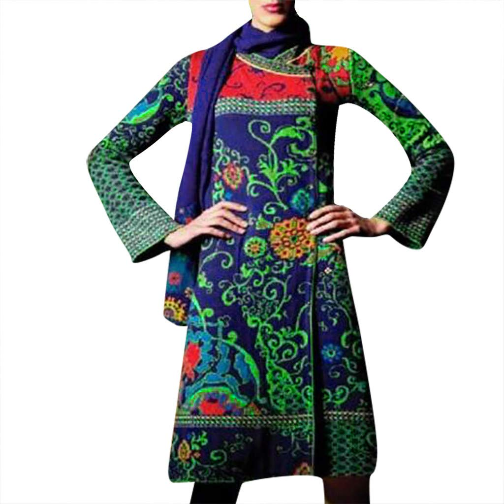 Willow S Women's Ethnic Style Printed Cardigan Woolen Coat Large Size Casual Loose Lapel Long Sleeve Long Coat S-XXXL Red by Willow S