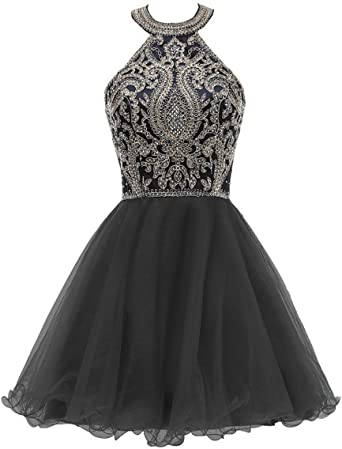 gsunmmw 2018 High Neck Lace Beaded Homecoming Dress Halter Tulle Cocktail Prom Party Dresses Formal GS004