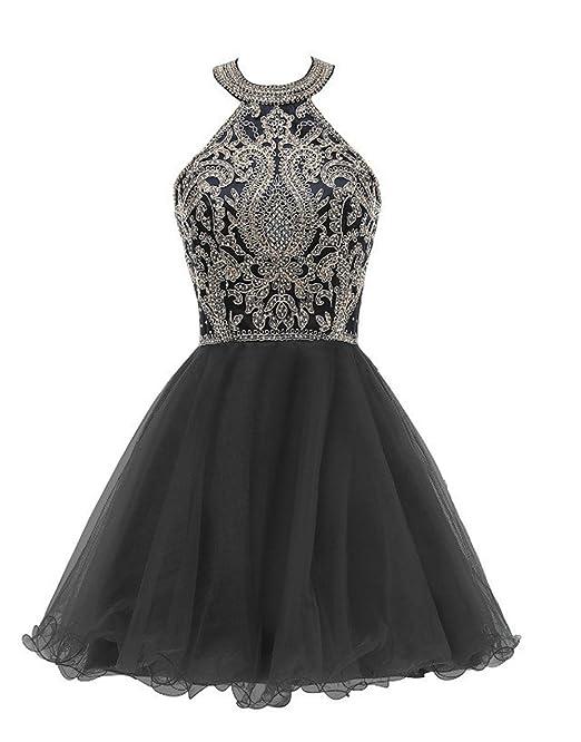 7e818f012b89 Huifany Womens Short Halter Prom Party Dress Beaded Hollow Military Ball  Gown Black,2