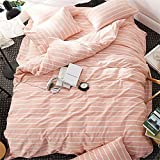 EnjoyBridal Striped Duvet Cover Sets Queen Full Washed Cotton Bedding Sets for Teens Girls Boys 4 Corners Orange Pink and White Print Comforter Cover 3 Pieces (Queen, StripeC)