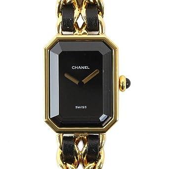 7eae0b78be シャネル CHANEL プルミエール Lサイズ H0001 レディース 腕時計 ブラック 黒 文字盤 ゴールド クォーツ ウォッチ 【
