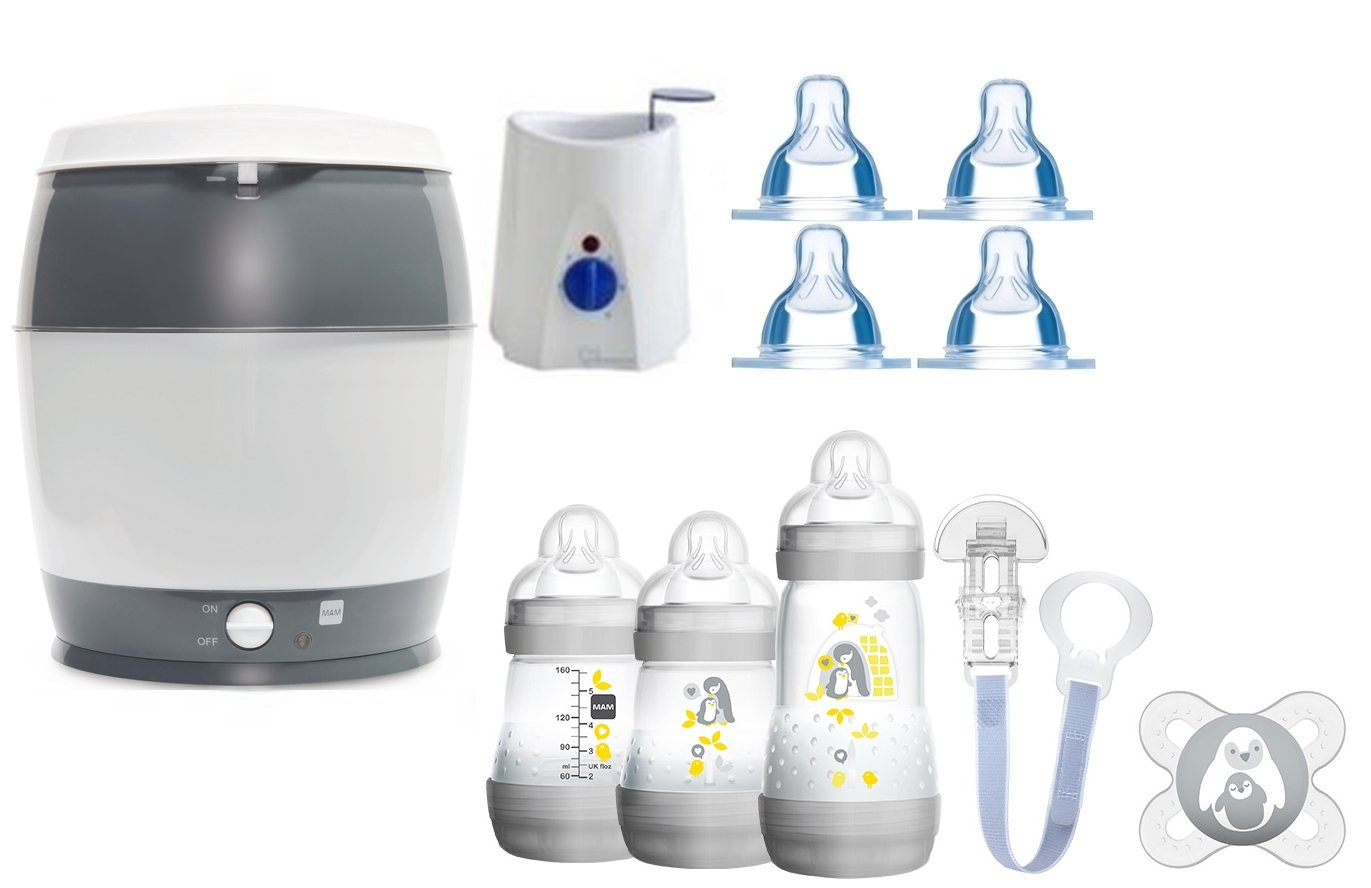 MAM Set 3 - Startset - Flaschen Sauger Sterilisator Flaschen- & Babykoster - Neutral + gratis Geschenk MAM Babyartikel MAM-Set 3-ivory
