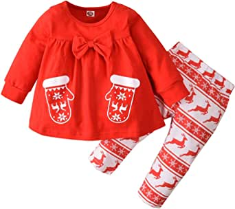 Christmas Outfit Toddler Baby Girls Long Sleeve Reindeer Tunic Dress Tops Striped Legging Pants Xmas Clothes Set