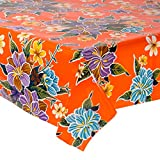 Mexican Floral Oilcloth Table Cover (120 cm Width - Long by half Meters) Model Flower Hibiscus Orange