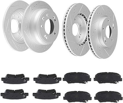 Front Rear Disc Rotors /& Ceramic Brake Pads Fits Hyundai Azera