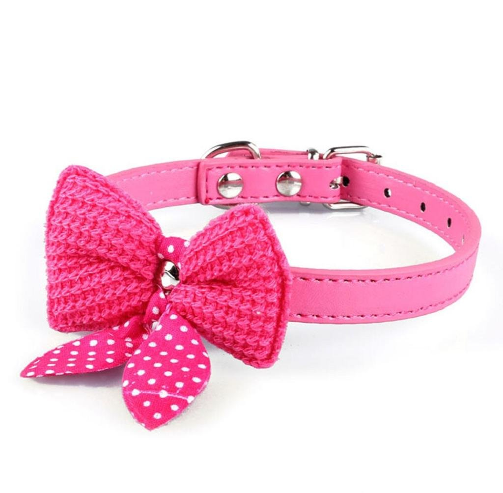 Franterd Puppy Adjustable PU Leather Knit Bowknot Pet Dog Collars Necklace (Hot Pink)