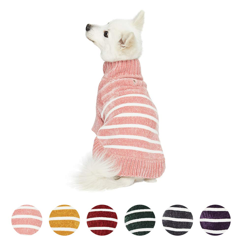 Blueberry Pet 2020 New Cozy Soft Chenille Classy Striped Dog Sweater in Dusty Rose, Back Length 12'', Pink Clothes for Dogs by Blueberry Pet