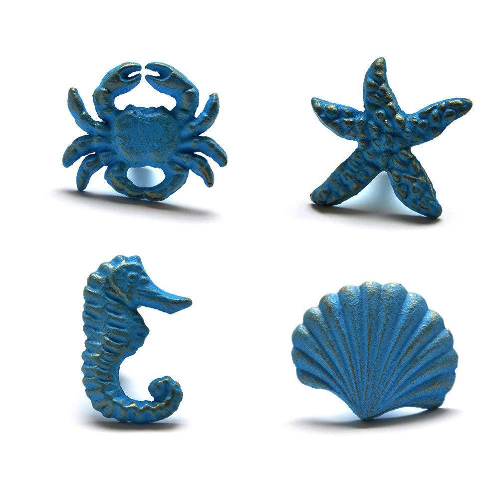 Joyindecor Ocean Cabinet Knobs for Dresser Cupboard Wardrobe Kitchen, Distressed Cast Iron Beach Theme Drawer Pulls Handles, Sea Horse, Starfish, Seashell and Crab, Pack of 4 (Blue)