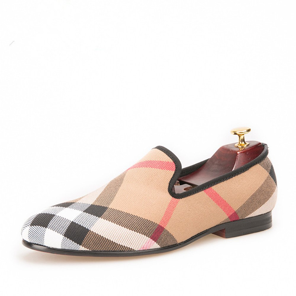 HI&HANN Plaid Canvas Loafers Men 's Casual Shoes Smoking Slipper-168126--12.5-Khaki