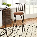 Mainstays Slat Back Folding 30″ Bronze Barstool with dark bronze metal finish and plush microfiber cushion makes for a seamless integration into a wide-range of decor, Beige (1)