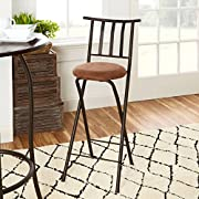 "Slat Back Folding 30"" Barstool, Bronze with Beige Microfiber Cushion"