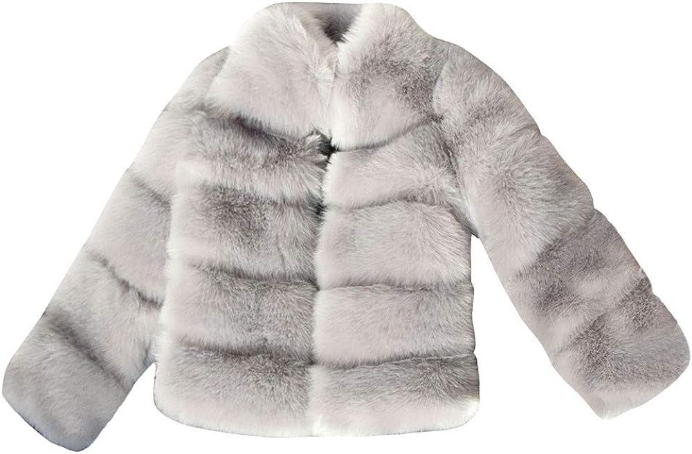 OYSOHE Womens Tops, Women Fashion Solid Jackets Short Stitching Faux Fur Coat Light Gray