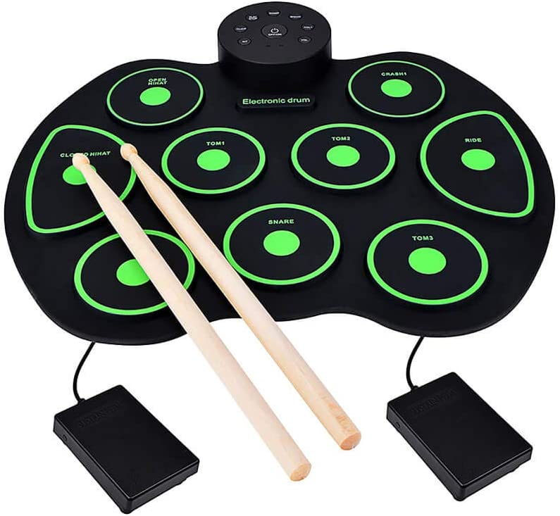 Electronic Drum Set, Portable Foldable Roll Up 9 Pads Electric Drums Pad, Practice Drum Kit for Kids and Adult Beginner Drummer.