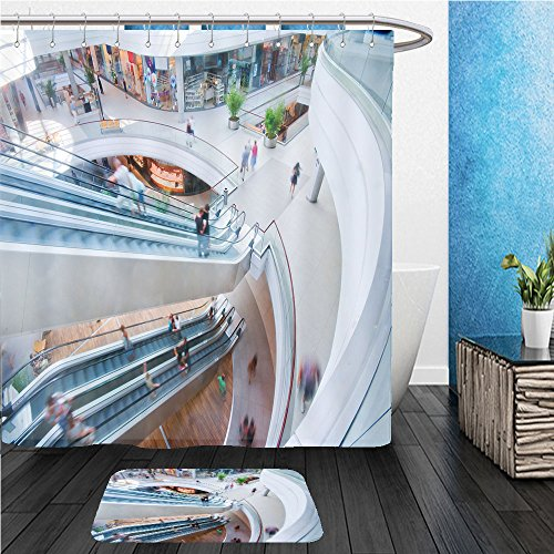 Beshowereb Bath Suit: ShowerCurtian & Doormat modern shopping mall people in rush - Dolphin Mall Shopping