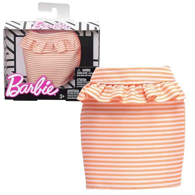 Amazon.es: Barbie Falda Naranja Blanco a Rayas Mattel FPH31   Moda ...