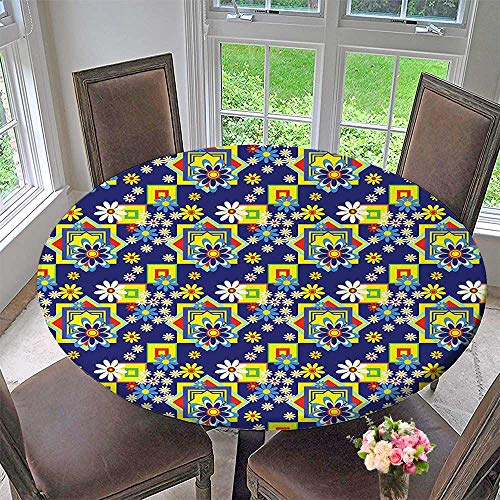 Mikihome Chateau Easy-Care Cloth Tablecloth Flower Daisy Blooms and Mix SquaresPrint Royal Blue Yellow Red for Home, Party, Wedding 47.5