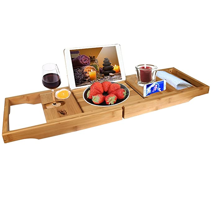 G-LEAF Bamboo Bathtub Caddy Tray with Extending Sides, Reading Rack, Tablet Holder, Cellphone Tray and Wine Glass Holder, Natural Wood Bath Accessories