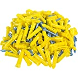 HangDone Ribbed Wall Anchors #4-#6 7/8-Inch with Screws 100-Pack, Yellow