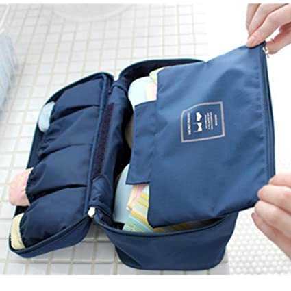 54ba7abc0178 ANKKO Portable Bra Underwear Storage Bag Travel Lingerie Organizer Pouch  (Deep Blue)