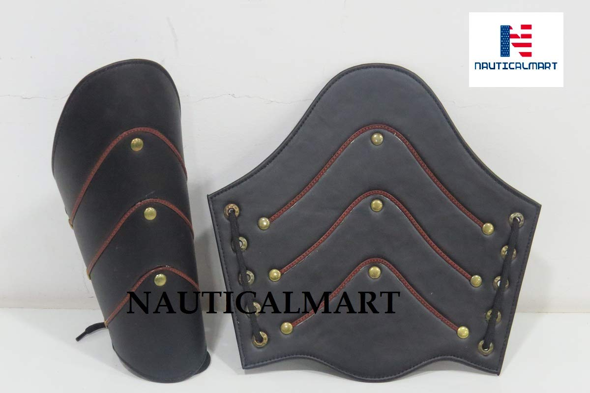 NAUTICALMART Leather Arm Guards - Medieval Bracers - Black - One Size Fit Most by NAUTICALMART