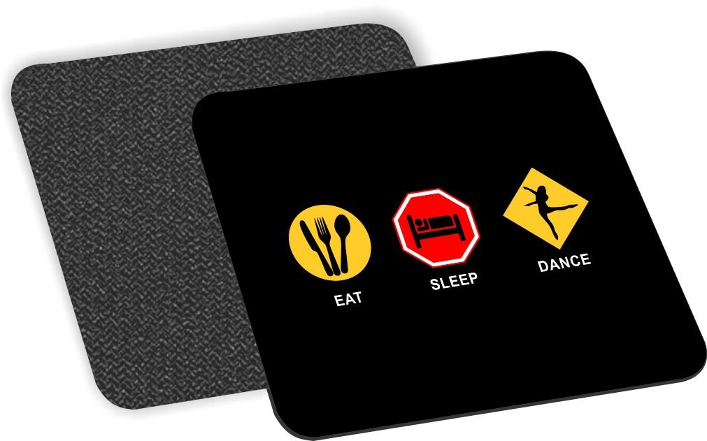 Rikki Knight Eat Sleep Dance Design Soft Square Beer Coasters (Set of 2), Multicolor