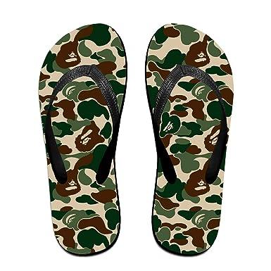 ba2e65cbada8 Amazon.com  Bape Ape Camo Green Unisex Adults Casual Flip-Flops Sandal Pool  Party Slippers Bathroom Flats Open Toed Slide Shoes  Clothing