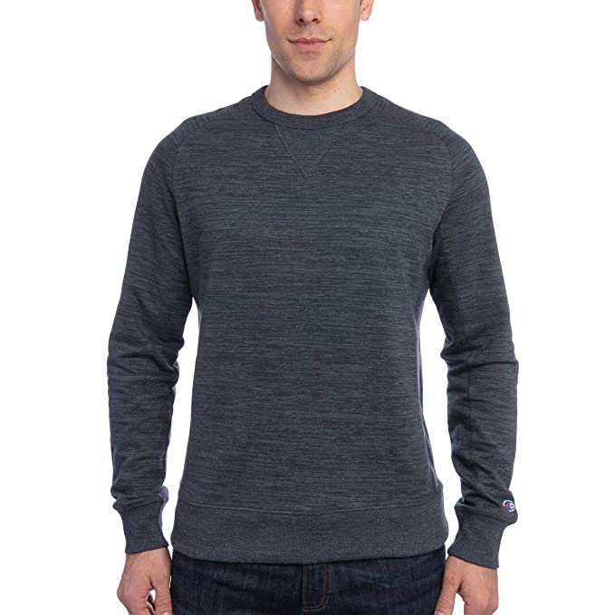 Champion Men's Textured French Terry Crew Neck Sweatshirt Navy Color