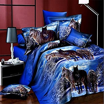 Wolf Bedding Set Queen Size Wolf Print Bedding Set Manly Bedding 100%  Cotton 4pcs