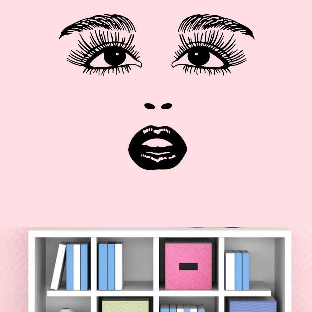 Vosarea Adesivo murale Bellezza Donne Viso Rimovibile Fai da Te Art Decalcomanie Soggiorno Home Decor Viso Home Decor Sticker Nero