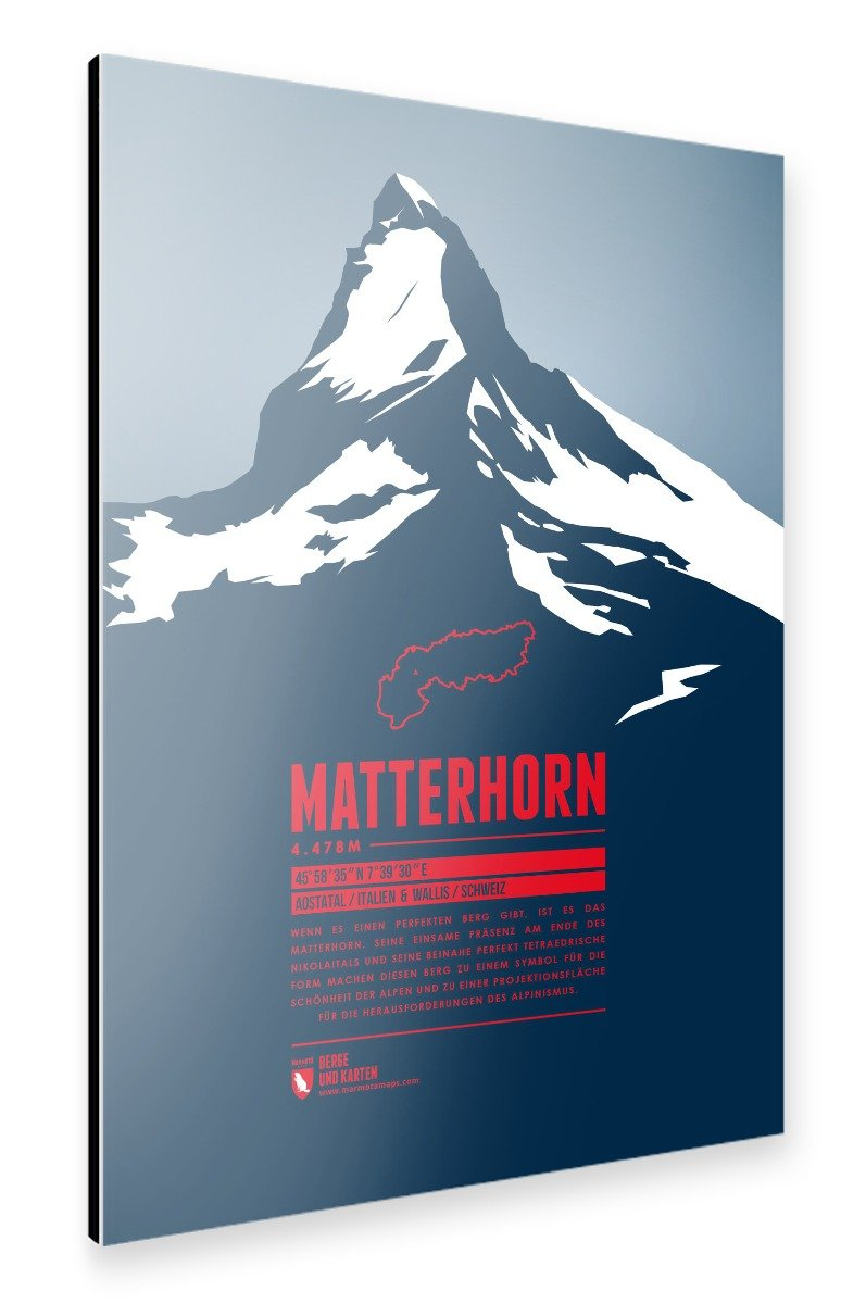 ArtboxONE Alu-Print 90x60 cm Matterhorn von Künstler Marmota Maps