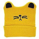 OWIKAR Baby Knit Warm Hat, Cat Ears Knit Hat Ear Flap Crochet Beanie Hat Toddler Beanie Cap Autumn Winter Cartoon Cat Cap for Boys Girls (Yellow)