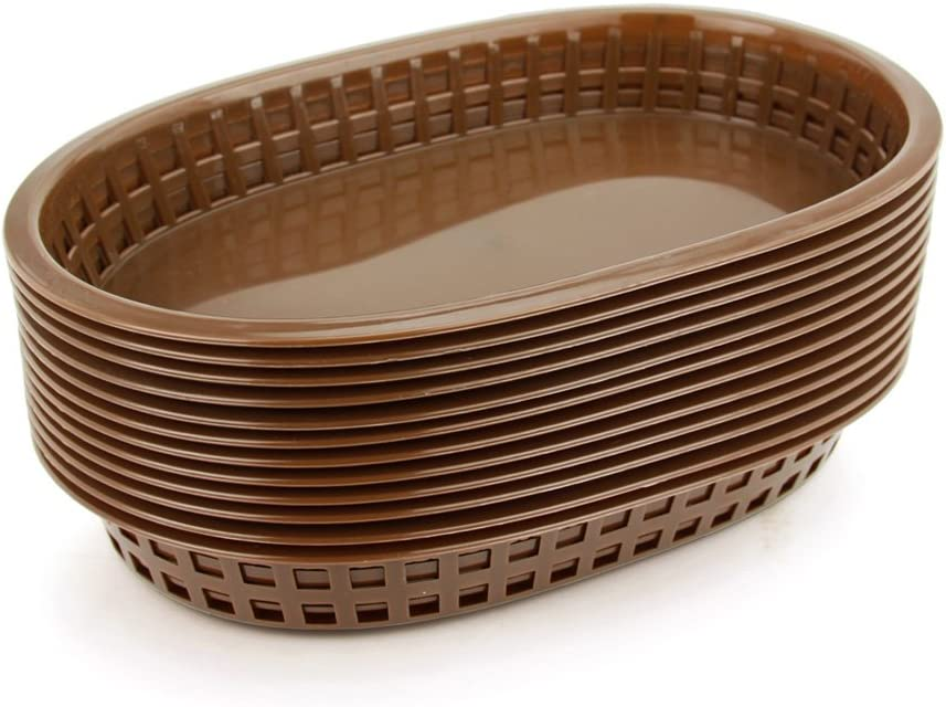 New Star Foodservice 44003 Fast Food Baskets, 10.5 x 7 Inch, Set of 12, Brown