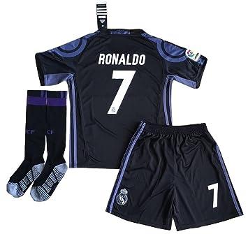 Nueva Ronaldo # 7 Real Madrid Champions League camiseta pantalones cortos y calcetines para niños/jóvenes: Amazon.es: Deportes y aire libre