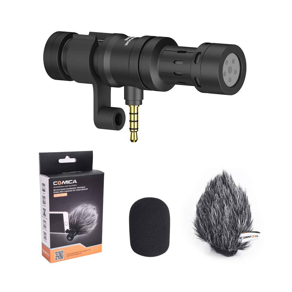 Comica CVM-VS08 Microphone for Smartphones, Cardioid Directional Shotgun Camera Microphone, Vlogging Mic for iPhone Samsung, iOS Android (3.5mm Jack) by comica