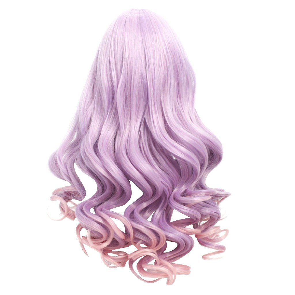 MagiDeal Purple Long Fluffy Wavy Replacement Wigs for 18'' American Girl Dolls DIY Making Supplies