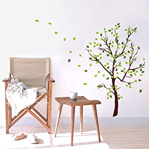 decalmile Green Tree Wall Decals Flying Leaves Wall Stickers Living Room Bedroom Sofa TV Background Wall Art Decor(Tree Size: 41