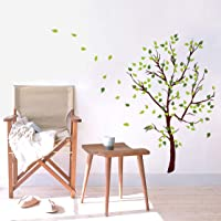decalmile Green Tree Wall Decals Flying Leaves Wall Stickers Living Room Bedroom Sofa TV Background Wall Art Decor
